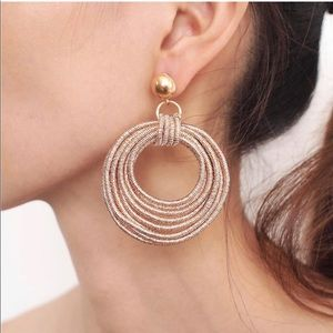 Vintage Metal Round Multilayer Dangle Earrings